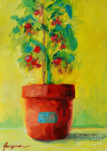 Painting - Tomato Plant Still Life Oil Painting by Patricia Awapara