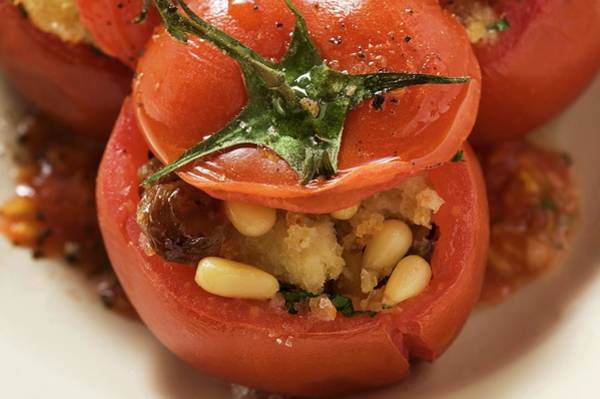 Vegies Photograph - Tomatoes Stuffed With Bread, Pine Nuts And Raisins by Foodcollection