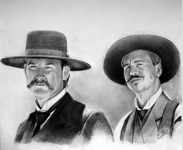 Wall Art - Drawing - Tombstones Wyatt And Doc by Caleb Goodman