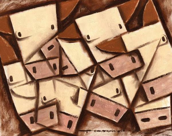 Wall Art - Painting - Tommervik Cubism Cows Cow Art Print by Tommervik