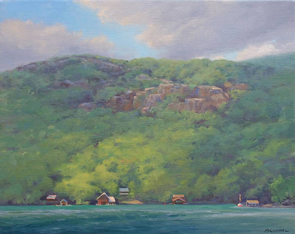 Adirondack Mountains Painting - Tongue Mountain Boathouses by Marianne Kuhn