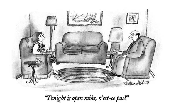 September 16th Drawing - Tonight Is Open Mike by Victoria Roberts
