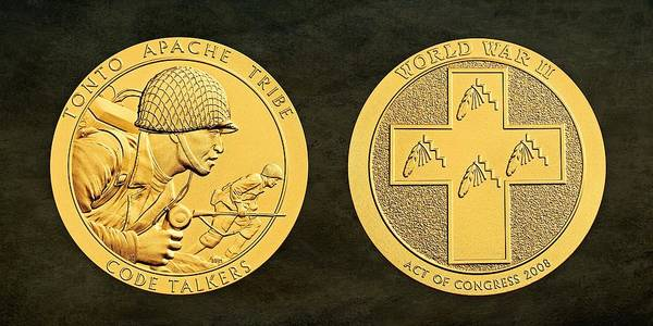 Code Talkers Photograph - Tonto Apache Tribe Code Talkers Bronze Medal Art by Movie Poster Prints