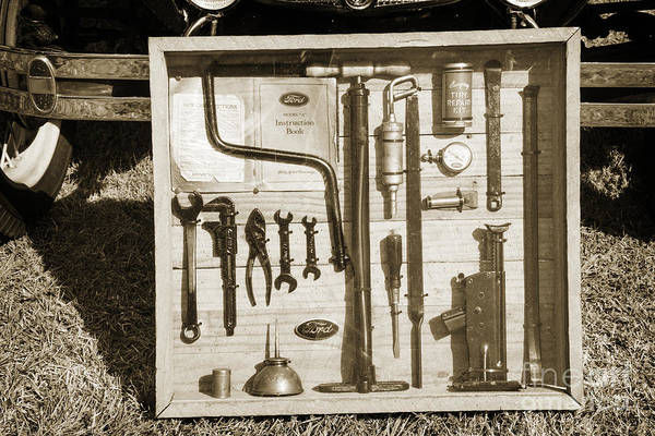 Photograph - Tool Kit For 1929 Ford Classic Antique Automobile Car In Sepia   by M K Miller