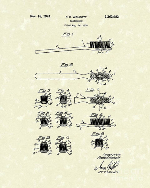Drawing - Toothbrush 1941 Patent Art by Prior Art Design