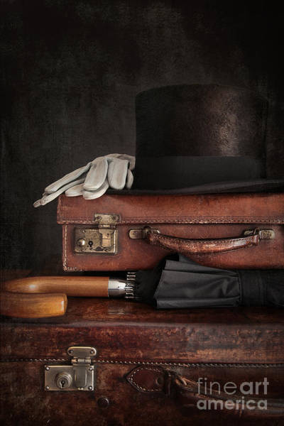 Photograph - Top Hat On Old Suitcases by Sandra Cunningham