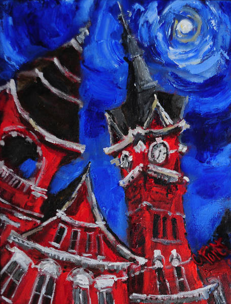 Wall Art - Painting - Top Of Samford Hall by Carole Foret