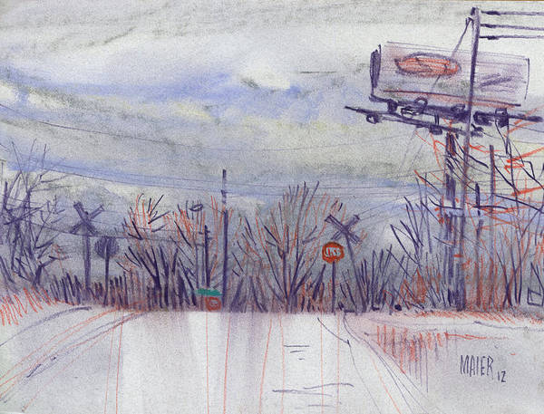 Wall Art - Drawing - Top Of The Hill by Donald Maier