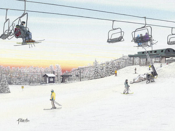Snowscape Painting - Top Of The Mountain At Seven Springs by Albert Puskaric