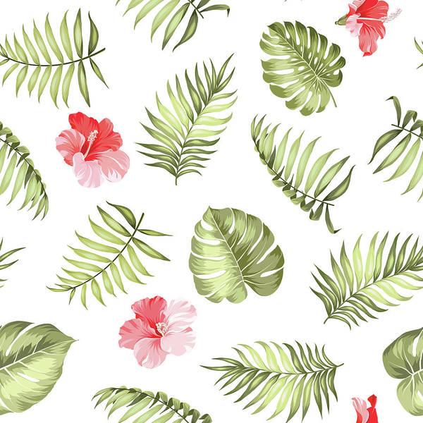 Digital Art - Topical Palm Leaves Pattern by Kotkoa
