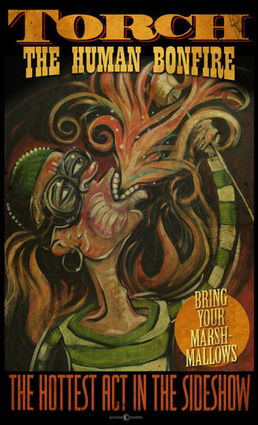 Painting - Torch The Human Bonfire Poster by Tim Nyberg