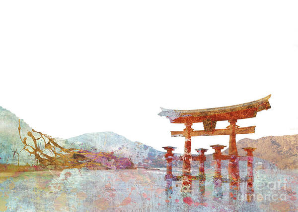 Far Away Wall Art - Digital Art - Torii Gate Colorsplash by MGL Meiklejohn Graphics Licensing