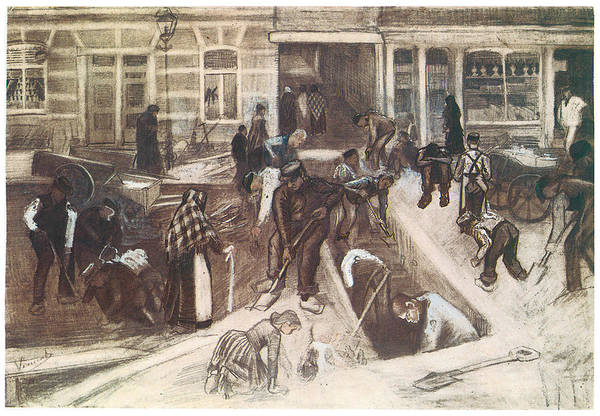Tear Drawing - Torn-up Street With Diggers by Vincent van Gogh