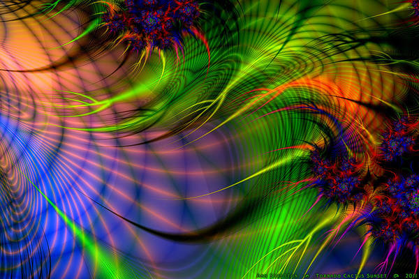 Digital Art - Tornado Cactus Sunset  by Ann Stretton