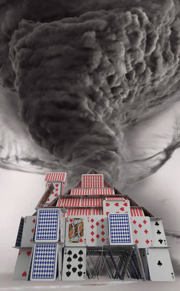Wall Art - Photograph - Tornado Dust Cloud Approaching House by Ikon Images