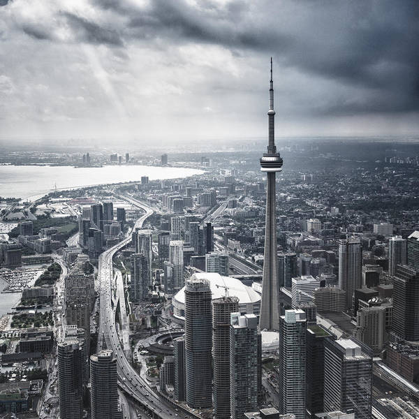 Toronto Aerial View During A Storm Art Print by Franckreporter