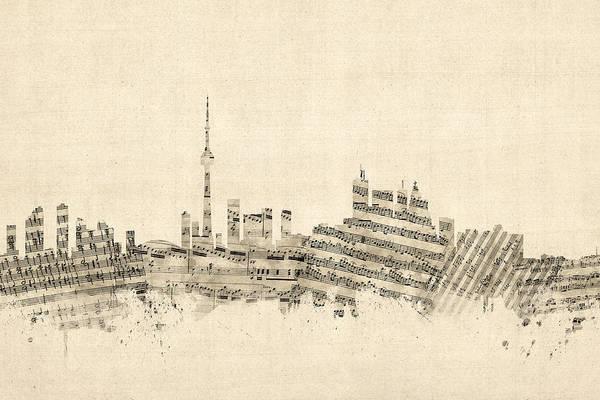 Wall Art - Digital Art - Toronto Canada Skyline Sheet Music Cityscape by Michael Tompsett