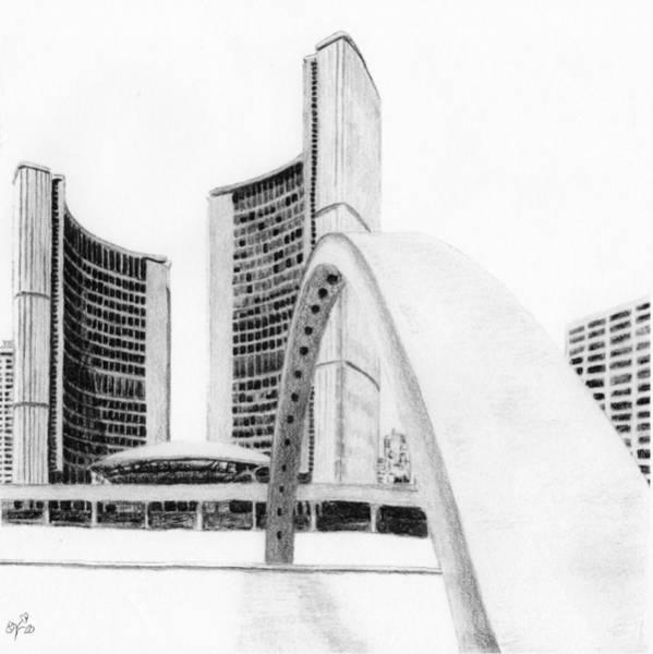 Drawing - Toronto City Hall II Study by Duane Gordon