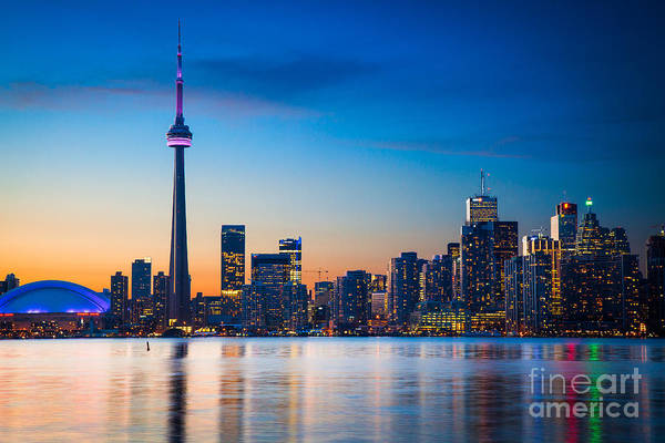 Cn Tower Wall Art - Photograph - Toronto From Centre Island by Inge Johnsson