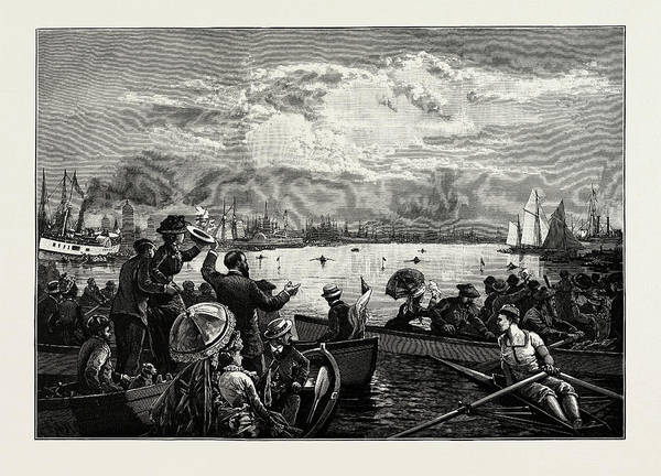 Toronto Drawing - Toronto Harbour, A Sculling Match, Canada by Canadian School