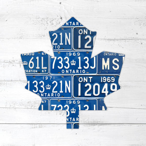 Ontario Mixed Media - Toronto Maple Leafs Hockey Team Retro Logo Vintage Recycled Ontario Canada License Plate Art by Design Turnpike