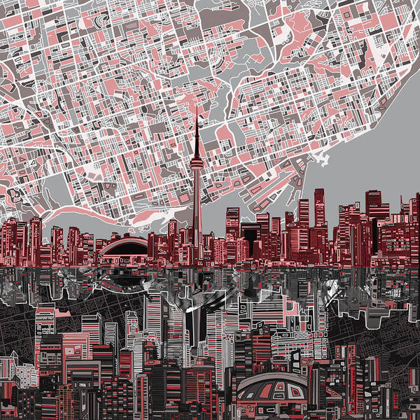 Wall Art - Painting - Toronto Skyline Abstract 5 by Bekim M