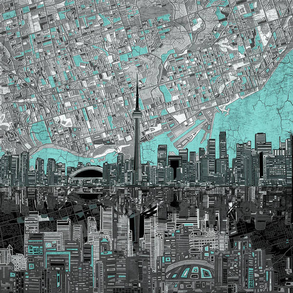 Wall Art - Painting - Toronto Skyline Abstract 6 by Bekim M