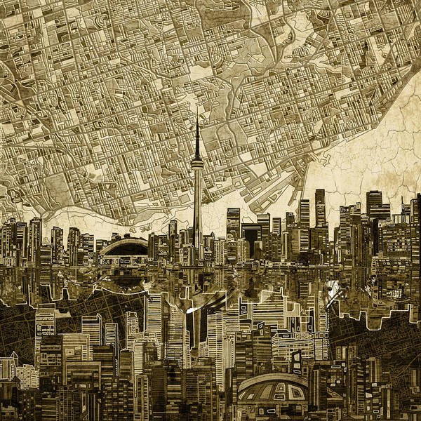 Toronto Painting - Toronto Skyline Abstract Vintage by Bekim M
