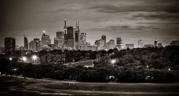 Photograph - Toronto Skyline At Night Bw by Levin Rodriguez