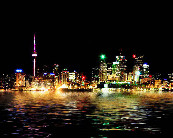 Photograph - Toronto Skyline At Night From Polson St Reflection by Brian Carson