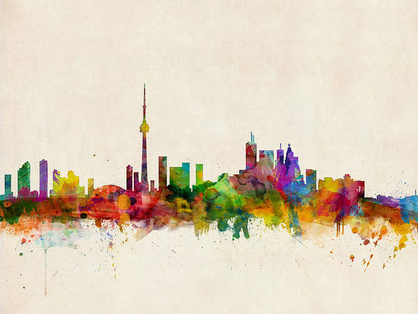 Watercolour Digital Art - Toronto Skyline by Michael Tompsett