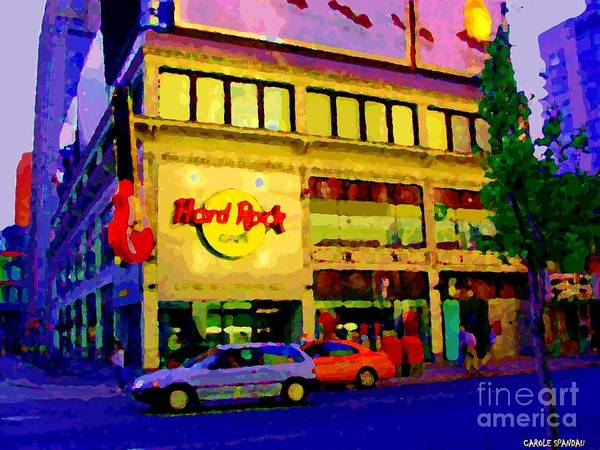 Painting - Toronto Street Scene Night Scapes Hard Rock Cafe Downtown Drive By City Lights Canadian Art Cspandau by Carole Spandau