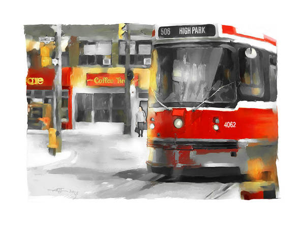 Traffic Signals Painting - Toronto Streets 1 by Bob Salo