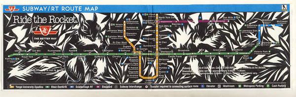 Toronto Subway Map Squirrels Art Print