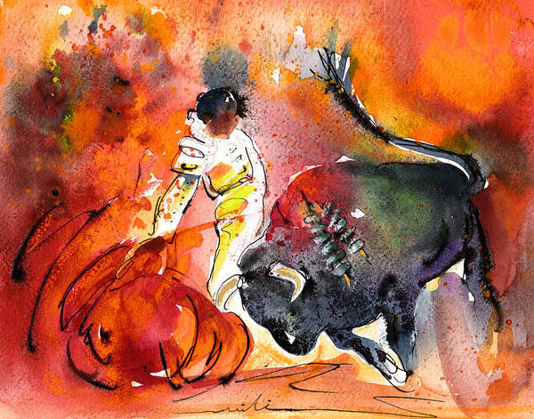 Painting - Bullfighting The Reds by Miki De Goodaboom