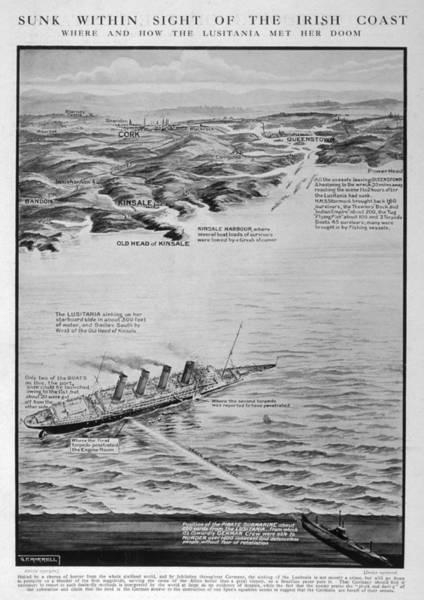Reconstruction Drawing - Torpedoed Within Sight Of The  Irish by  Illustrated London News Ltd/Mar