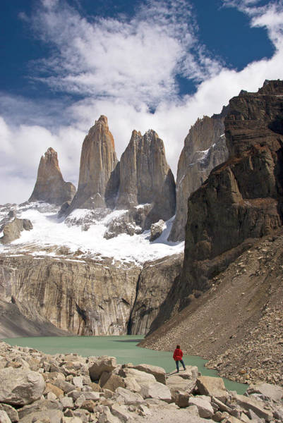 Antartica Wall Art - Photograph - Torres Del Paine With Hiker Below by John Elk