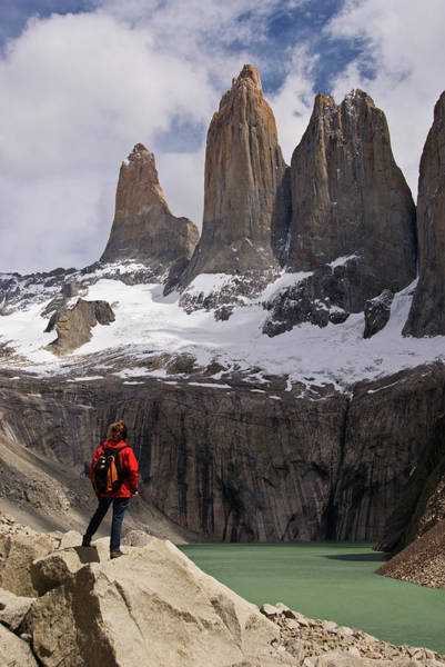 Antartica Wall Art - Photograph - Torres Del Paine With Hiker In by John Elk