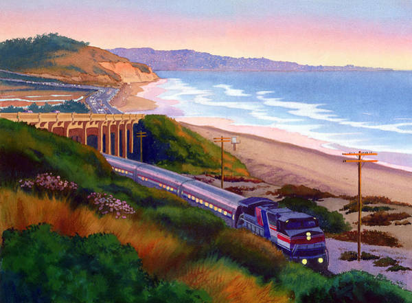 Trains Painting - Torrey Pines Commute by Mary Helmreich