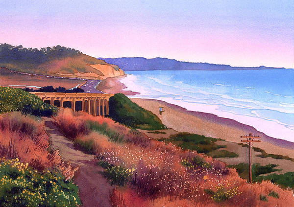 Wall Art - Painting - Torrey Pines Dusk by Mary Helmreich