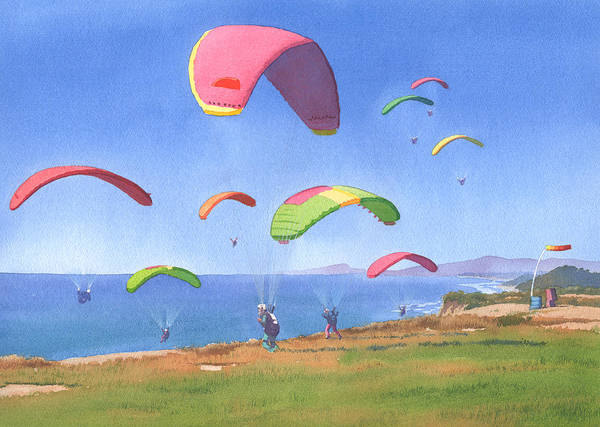 Wall Art - Painting - Torrey Pines Gliderport by Mary Helmreich
