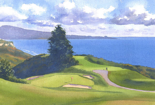 Course Wall Art - Painting - Torrey Pines Golf Course North Course Hole #6 by Mary Helmreich