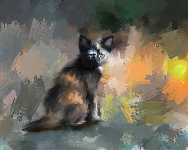 Painting - Tortoiseshell Kitten #1 by Jai Johnson