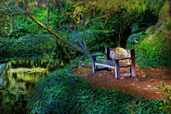 Park Bench Digital Art - Total Solitude by Cary Shapiro