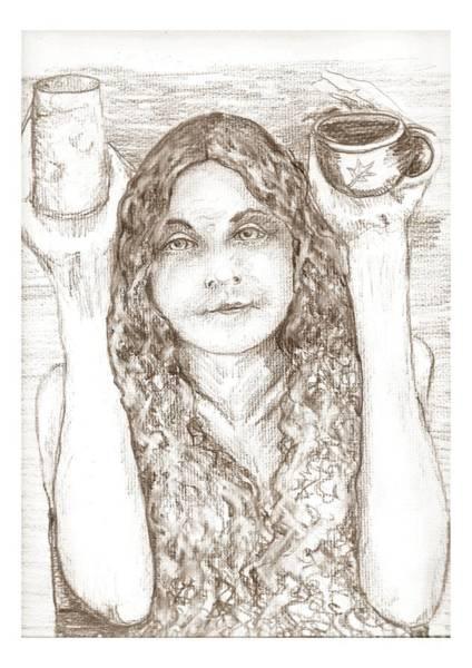 Vegan Drawing - Totally Nude Vegan Coffee Shop by Joseph Wetzel