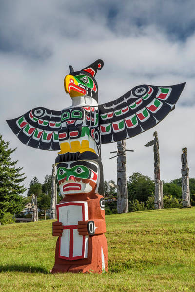 Indigenous People Photograph - Totem Pole, Alert Bay, Vancouver Island by Witold Skrypczak