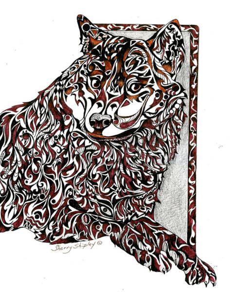 Drawing - Totem Wolf by Sherry Shipley