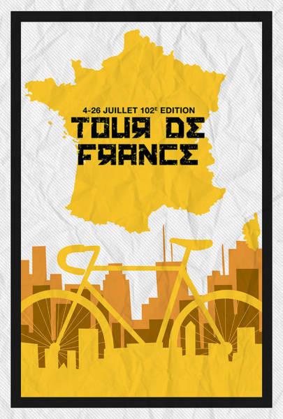 Digital Art - Tour De France 2015 Minimalist Poster by Adam Asar