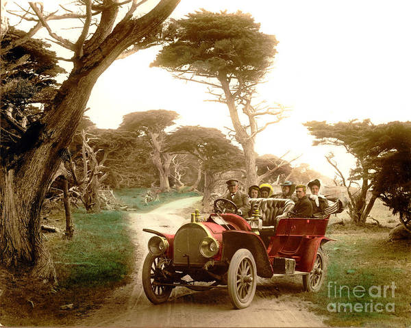 Photograph - Royal Tourist Touring Car On The 17 Mile Drive Pebble Beach California Circa 1910 by California Views Archives Mr Pat Hathaway Archives