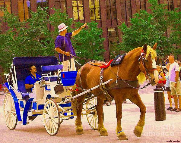 Painting - Touring The Old City Blue Carriage Ride Along Place D'armes Vieux Port Caleche Quebec Art C Spandau by Carole Spandau